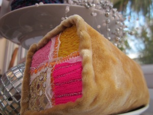 Sumptuous velvet with lashings of bling.  Battenburg cake by Sewboytenesque.  Look but don't touch...!