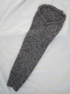 Felted sleeve cut from sweater