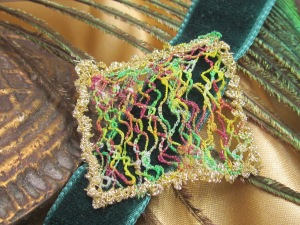 Velvet choker embellished with freehand machine embroidery