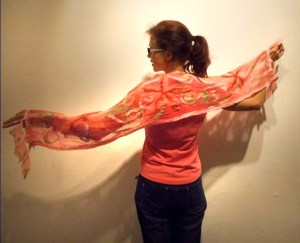 "Part of my ""making"" on my Make, Do and Mend journey; a nuno-felted scarf made during a one-day workshop."