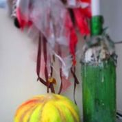 halloween ragwreath with candle