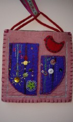 light pink felt bag