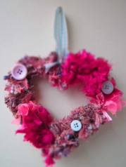 pink and buttons wreath